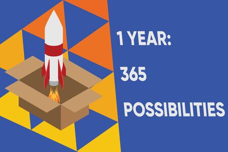 Text sign showing 1 Year 365 Possibilities. Business photo text Beginning of a New Day Lots of Chances to Start Fire launching rocket carton box. Starting up project. Fuel inspiration