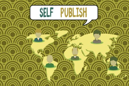 Conceptual hand writing showing Self Publish. Concept meaning published their work independently and at their own expense Connection multiethnic persons all Global business earth map