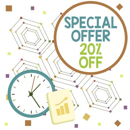 Handwriting text Special Offer 20 Percent Off. Conceptual photo Discounts promotion Sales Retail Marketing Offer Layout Wall Clock Notepad with Escalating Bar Graph and Arrow Pointing Up