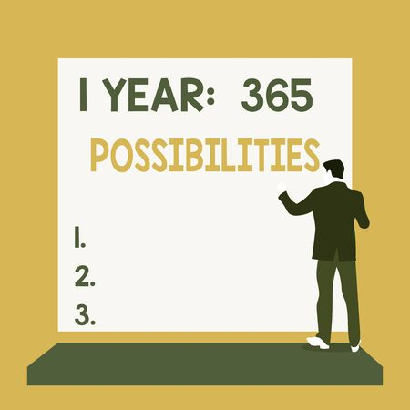 Text sign showing 1 Year 365 Possibilities. Business photo text Beginning of a New Day Lots of Chances to Start Back view young man dressed suit standing platform facing blank rectangle
