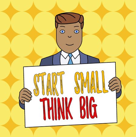 Conceptual hand writing showing Start Small Think Big. Concept meaning Initiate with few things have something great in mind Smiling Man Holding Suit Poster Board in Front of Himself