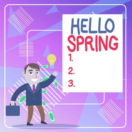 Word writing text Hello Spring. Business photo showcasing welcoming the season of the blossoming of flowers End of winter Successful Businessman or Clerk Generating Good Idea or Finding Solution Stok Fotoğraf - 133083609