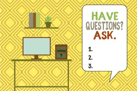 Writing note showing Have Questions Question Ask. Business concept for asking someone respond you with feedback Desktop computer with wooden table shelf books flower pot Фото со стока