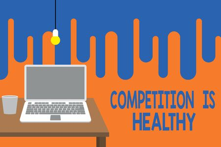 Word writing text Competition Is Healthy. Business photo showcasing Rivalry is good in any Venture leads to Improvement Front view open laptop lying on wooden desktop light bulb falling glass