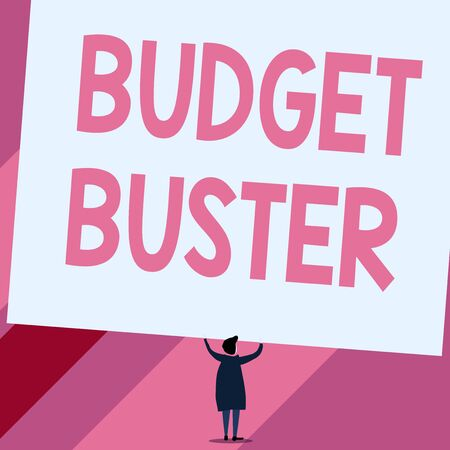 Conceptual hand writing showing Budget Buster. Concept meaning Carefree Spending Bargains Unnecessary Purchases Overspending Short hair woman dress hands up holding blank rectangle