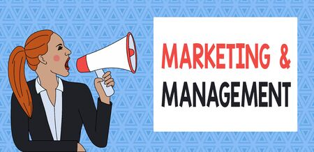 Text sign showing Marketing And Management. Business photo showcasing process of developing strategies for product Young Woman Jacket Ponytail Shouting into Loudhailer Rectangular Text Box Banco de Imagens - 131344525