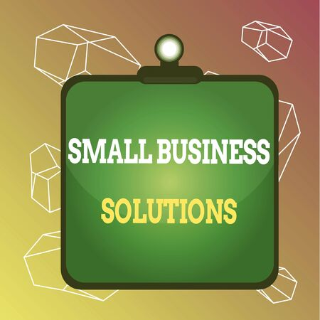 Word writing text Small Business Solutions. Business photo showcasing a Company to solve Specific Trade problems Clipboard colorful background spring clip stuck bind empty plank frame