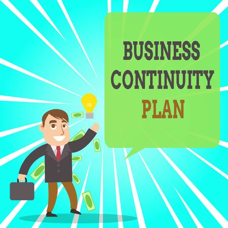 Text sign showing Business Continuity Plan. Business photo text creating systems prevention deal potential threats Successful Businessman or Clerk Generating Good Idea or Finding Solution 写真素材