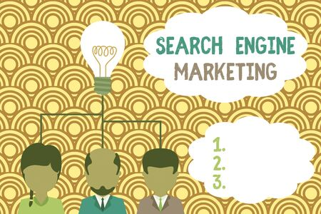 Writing note showing Search Engine Marketing. Business concept for promote Website visibility on searched result pages Group three executive persons sharing idea icon. Startup team meeting