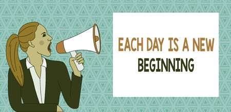 Text sign showing Each Day Is A New Beginning. Business photo showcasing Every morning you can start again Inspiration Young Woman Jacket Ponytail Shouting into Loudhailer Rectangular Text Box