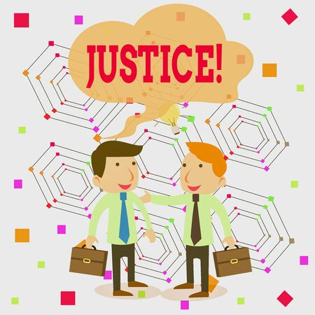 Writing note showing Justice. Business concept for impartial adjustment of conflicting claims or assignments Two White Businessmen Colleagues with Brief Cases Sharing Idea Solution Stockfoto - 133016233