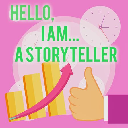 Writing note showing Hello I Am A Storyteller. Business concept for introducing yourself as novels article writer Thumb Up Good Performance Success Escalating Bar Graph Ascending Arrow