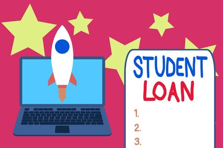 Word writing text Student Loan. Business photo showcasing financial assistance designed to help students pay for school Launching rocket up laptop . Startup project. Developing goal objectives