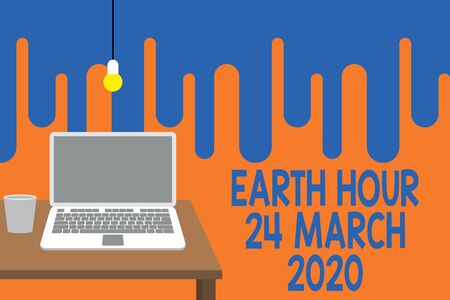 Word writing text Earth Hour 24 March 2020. Business photo showcasing Celebrate Sustainability Save the Planet Lights Off Front view open laptop lying on wooden desktop light bulb falling glass