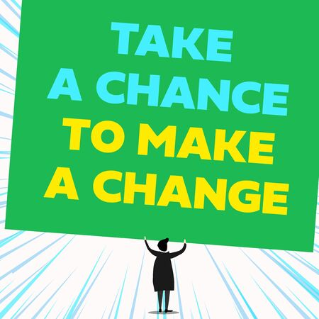 Handwriting text writing Take A Chance To Make A Change. Conceptual photo dont lose opportunity to reach bigger things Back view standing short hair woman dress hands up holding blank rectangle
