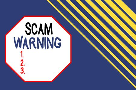 Word writing text Scam Warning. Business photo showcasing caution of unsolicited email claims the prospect of a bargain Seamless rectangle background pattern diagonal stripes upper right side
