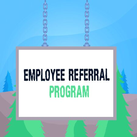 Word writing text Employee Referral Program. Business photo showcasing employees recommend qualified friends relatives Whiteboard rectangle frame empty space attached surface chain blank panel