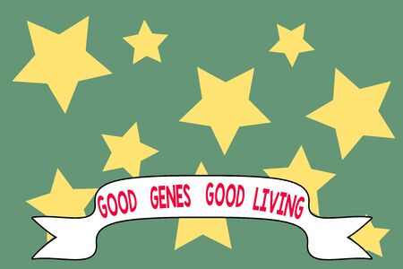 Word writing text Good Genes Good Living. Business photo showcasing Inherited Genetic results in Longevity Healthy Life Geometric seamless pattern. Monochrome randomly abstract texture stars