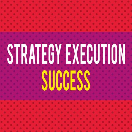 Word writing text Strategy Execution Success. Business photo showcasing putting plan or list and start doing it well Seamless Endless Infinite Polka Dot Pattern against Solid Red Background Imagens