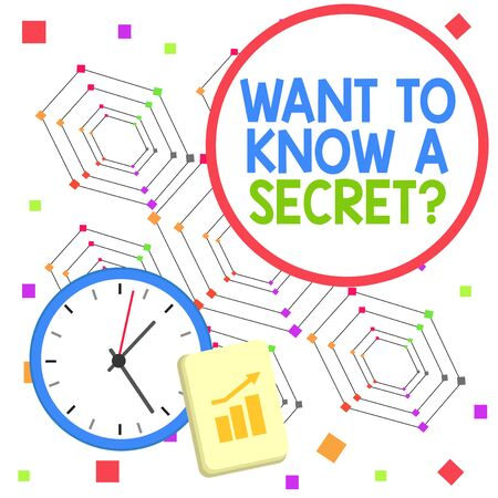 Handwriting text Want To Know A Secret Question. Conceptual photo to divulge a confidential vital information Layout Wall Clock Notepad with Escalating Bar Graph and Arrow Pointing Up