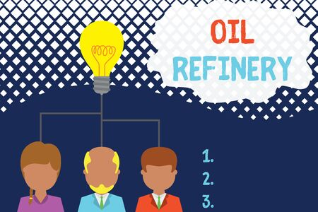 Conceptual hand writing showing Oil Refinery. Concept meaning industrial process of converting crude oil into petroleum Three executive persons sharing idea Startup team meeting