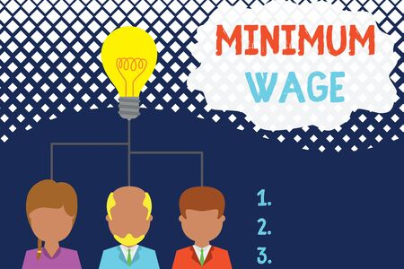 Conceptual hand writing showing Minimum Wage. Concept meaning the lowest wage permitted by law or by a special agreement Three executive persons sharing idea Startup team meeting