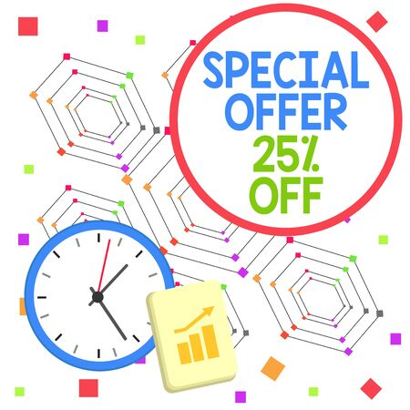 Handwriting text Special Offer 25 Percent Off. Conceptual photo Discounts promotion Sales Retail Marketing Offer Layout Wall Clock Notepad with Escalating Bar Graph and Arrow Pointing Up