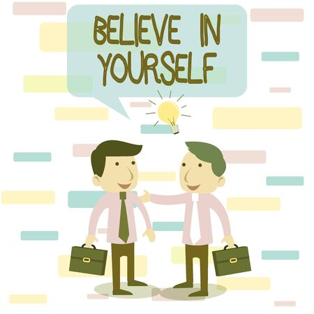 Writing note showing Believe In Yourself. Business concept for common piece of advice that you can do everything Two White Businessmen Colleagues with Brief Cases Sharing Idea Solution