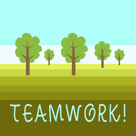 Writing note showing Teamwork. Business concept for combined action of group especially when effective and efficient Outdoor Landscape Nature Wooded Area Verdant Grass Blue Unclouded Skies
