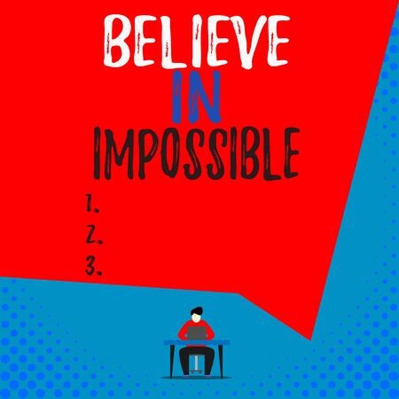 Text sign showing Believe In Impossible. Business photo showcasing You can do it everything is possible Work hard View young man sitting chair desk working open laptop geometric background Stok Fotoğraf