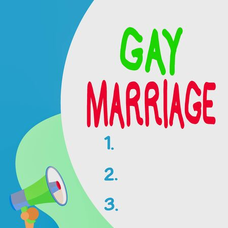 Conceptual hand writing showing Gay Marriage. Concept meaning entered into in a civil or religious ceremony of the same sex Blank huge balloon empty text with small megaphone. Announcement Stock Photo