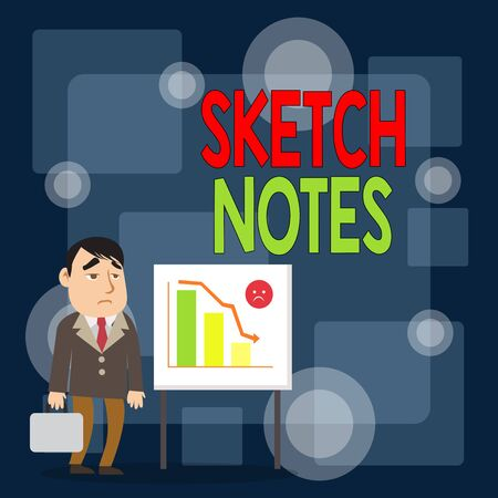 Writing note showing Sketch Notes. Business concept for visual notetaking Combination of notetaking and doodling Businessman with Brief Case Standing Whiteboard Bar Chart