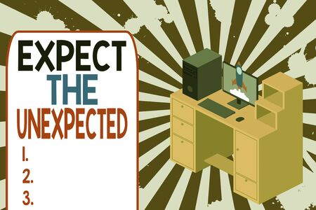 Text sign showing Expect The Unexpected. Business photo text Anything can Happen Consider all Possible Events Working desktop station drawers personal computer launching rocket clouds Stok Fotoğraf