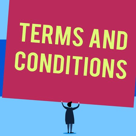 Writing note showing Terms And Conditions. Business concept for rules that apply to fulfilling a particular contract Short hair woman standing dress hands up holding blank rectangle Reklamní fotografie