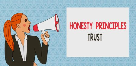 Text sign showing Honesty Principles Trust. Business photo showcasing believing someone words for granted Telling truth Young Woman Jacket Ponytail Shouting into Loudhailer Rectangular Text Box