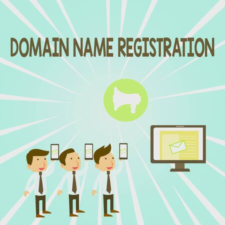 Handwriting text Domain Name Registration. Conceptual photo Own an IP Address Identify a particular Webpage SMS Email Marketing Media Audience Attraction Personal Computer Loudspeaker