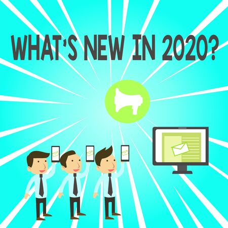 Handwriting text What S New In 2020 Question. Conceptual photo Expectation and Surprises for the coming Year SMS Email Marketing Media Audience Attraction Personal Computer Loudspeaker