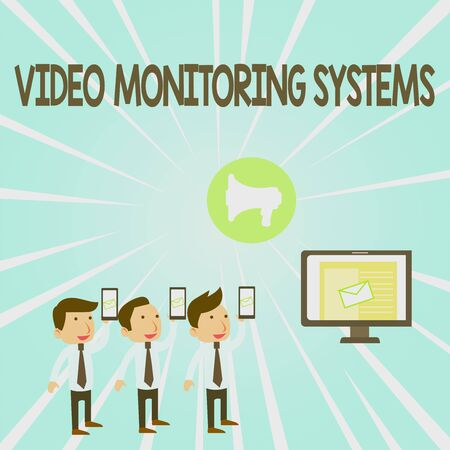 Handwriting text Video Monitoring Systems. Conceptual photo Surveillance Transmit capture Image to Digital Link SMS Email Marketing Media Audience Attraction Personal Computer Loudspeaker