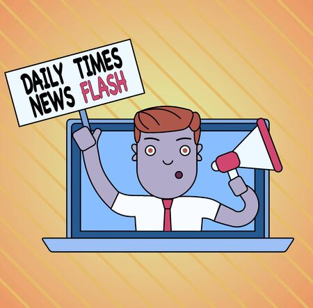 Conceptual hand writing showing Daily Times News Flash. Concept meaning fast response to actions happened in article way Man Speaking Through Laptop into Megaphone Plate with Handle Stock fotó