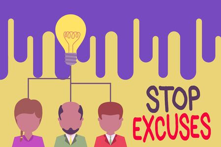 Text sign showing Stop Excuses. Business photo text put an end to an explanation for something that went wrong Group three executive persons sharing idea icon. Startup team meeting 写真素材