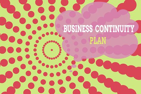 Word writing text Business Continuity Plan. Business photo showcasing creating systems prevention deal potential threats Dotted tunnel simulating sun shining. Abstract futuristic. Comic Background