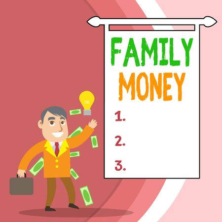 Handwriting text Family Money. Conceptual photo the inherited wealth of established upperclass families Successful Businessman or Clerk Generating Good Idea or Finding Solution
