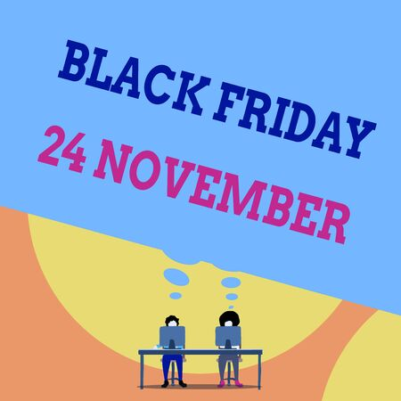 Text sign showing Black Friday 24 November. Business photo text Special sales Thanksgiving discounts Clearance Two men sitting behind desk each one laptop sharing blank thought bubble Stock fotó