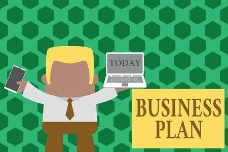Word writing text Business Plan. Business photo showcasing Structural Strategy Goals and Objectives Financial Projections Standing professional man tie holding left open laptop right mobile phone
