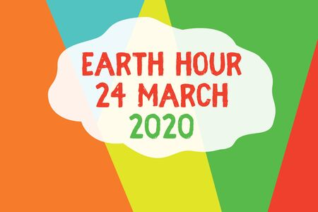 Conceptual hand writing showing Earth Hour 24 March 2020. Concept meaning Celebrate Sustainability Save the Planet Lights Off Geometric Background Triangles for Business Presentations Web
