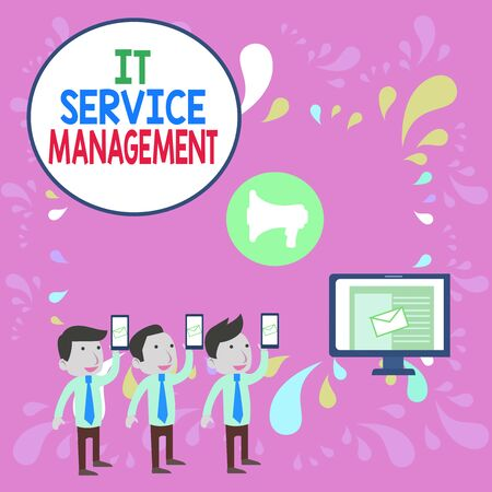 Word writing text It Service Management. Business photo showcasing Activity Directed by Policies Lifecycle of Technology SMS Email Marketing Media Audience Attraction Personal Computer Loudspeaker 写真素材