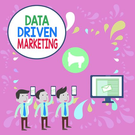 Word writing text Data Driven Marketing. Business photo showcasing Strategy built on Insights Analysis from interactions SMS Email Marketing Media Audience Attraction Personal Computer Loudspeaker