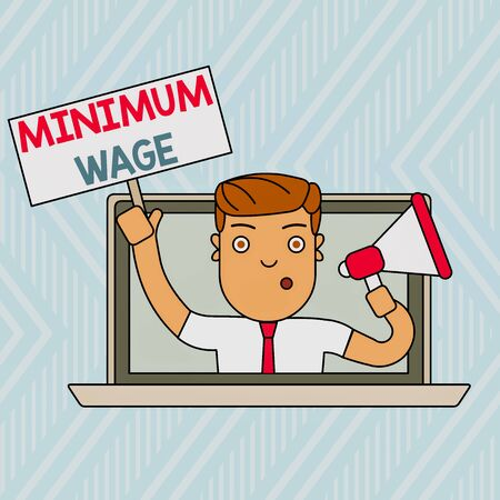 Word writing text Minimum Wage. Business photo showcasing the lowest wage permitted by law or by a special agreement Man Speaking Through Laptop Screen into Megaphone Blank Plate with Handle Фото со стока
