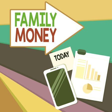 Handwriting text writing Family Money. Conceptual photo the inherited wealth of established upperclass families Layout Smartphone Off Sticky Notes Clipboard with Pie Chart and Bar Graph Stock Photo
