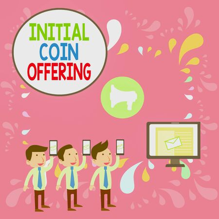 Word writing text Initial Coin Offering. Business photo showcasing crowdfunding using cryptocurrencies raising capital SMS Email Marketing Media Audience Attraction Personal Computer Loudspeaker